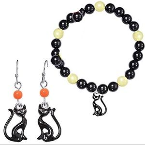 Halloween Cat Spooky Night Bracelet Earrings Kitty